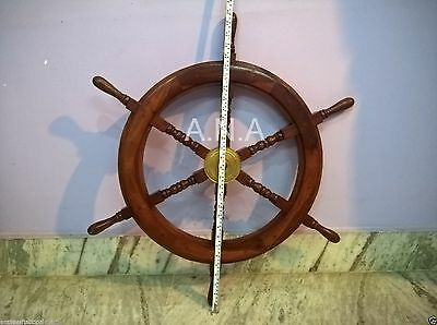 30 Inch Nautical Antique Wooden Ship Wheel Pirate Collectible Item