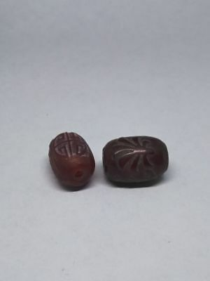 2pc tibetan prayer worry Hand-carved dzi bead old glass amulet Beads