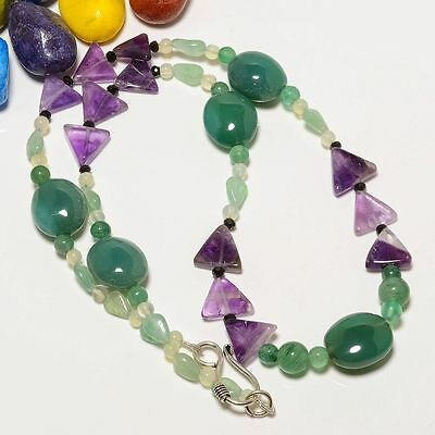 "100% Natural Green Onyx, Multi Gemstone Plain Beads 21"" Necklace"