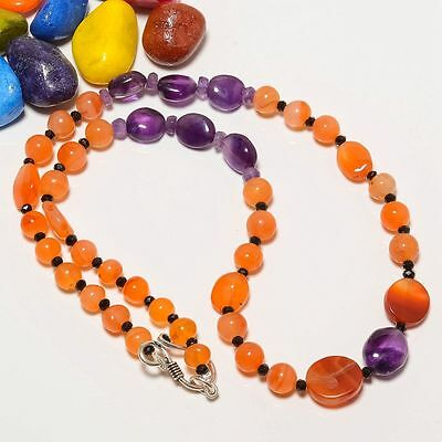 "100% Natural Carnelian, Amethyst Gemstone Plain Beads 21"" Necklace"