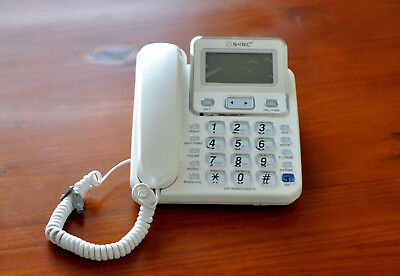 White Desktop Caller ID Handsfree Home Business Office Corded Phone Telephone