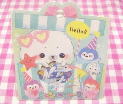 CRUX / Cute Seal Penguin Mini Flake Sticker / Japanese Stationery 42 pieces