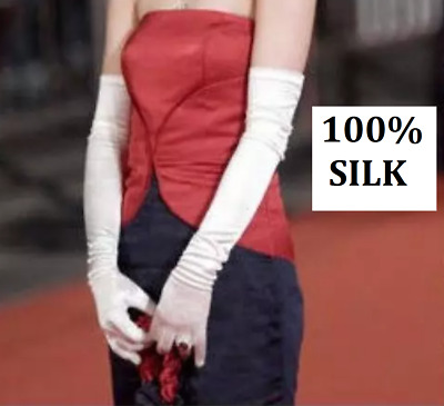 Ladies 100% Silk Stretchy Long Gloves Evening Gloves Wedding Party White