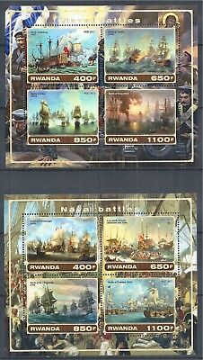 Rwanda 2017 Block Set Mnh Sailing Ship Segelschiff Battle Naval Battles