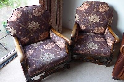 Pair of early 20th century  William Morris upholstered sitting room chairs