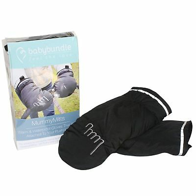 NEW Mummy Mitts One Size Fits All Warm Fleece Buggy Mittens - Black