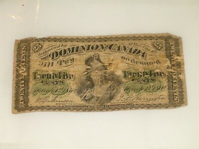 1870 Dominion Of Canada 25 cent Fractional Currency Note