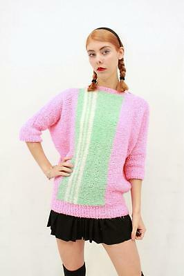 Vintage 80s RETRO Mint Green Lolly Pink BOUCLE KNIT Jumper Sweater AUS 8 10 XS S