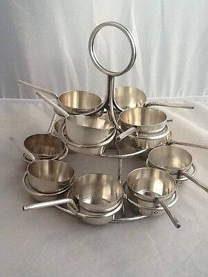 Rare Antique Silver Plated Punch / Mulled Wine Ladle Stack - Serves 12