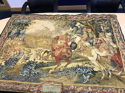 Large Antique Vintage French Wall Hanging Tudor Tapestry