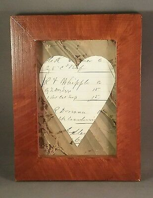 Antique journal heart in reproduction grained frame