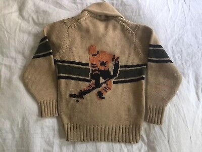Vintage McGregor Hockey Shawl Collar Cowichan Sweater Medium 1960s Knit Wool