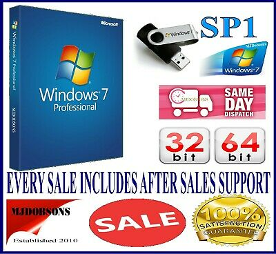 Windows 7 Professional 64 bit SP1 Full Version & License  Product Key Pro DVD