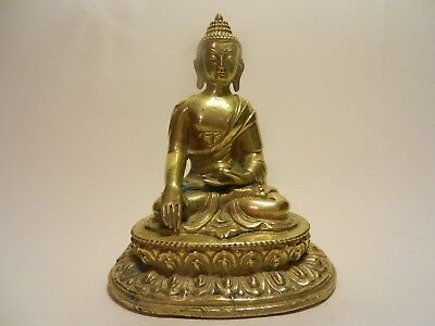 A Sino-Tibetan Cast Gilt Bronze Figure Of Shakyamuni Buddha 19th early 20th C