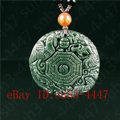 Certified Natural Hetian Jade Dragon Phoenix Pendant Necklace Charm Jewelry Hot