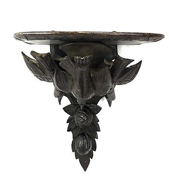 Antique Black Forest Wooden Carved Wall Shelf / Stand / Bird And Acorn Design