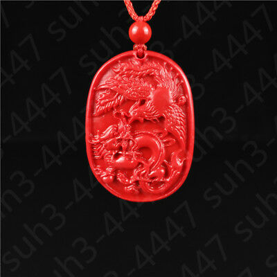Chinese Red Cinnabar Dragon phoenix Pendant Necklace Charm Jewelry Lucky Amulet