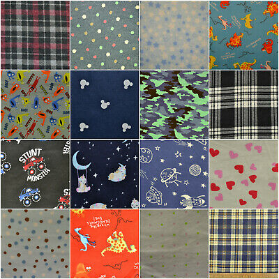PRINTED Wincyette Flannel Brushed 100% Cotton Fabric Winter shirts 110cm Wide