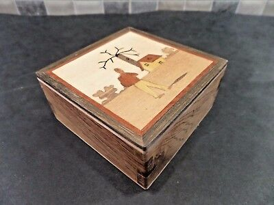 Lovely Vintage Secret/ Puzzle Opening Small Box With Inlaid Picture On Lid