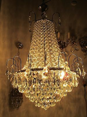 "Antique Vnt French HUGE Basket Chrome/nickel Crystal Chandelier Lamp 1960's 20""i"