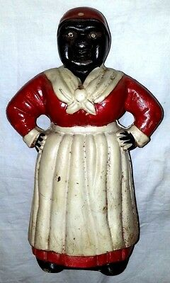 """AUNT JEMIMA Manner ~ CAST IRON BLACK MAMMY COIN BANK ~ 11"""" Tall USED as DOORSTOP"""