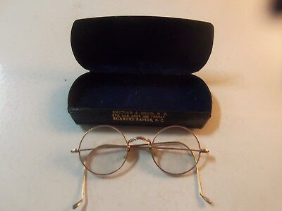 Antique Vintage Round Eye Glasses w/ Case Roanoke Rapids NC w/ Doctors Name