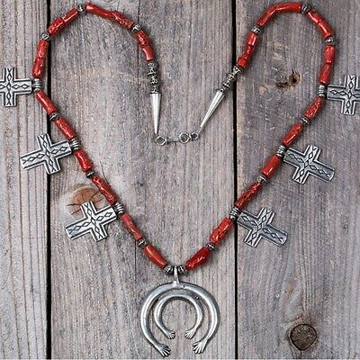 Vintage old Navajo natural red coral sterling silver .925 cross pendant necklace