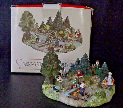 Liberty Falls~Panning For Gold On L Creek~ Christmas Snow Western Village Figure