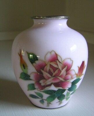 Japanese Cloisonne Vase Pink with Roses