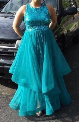 Size 15 City Triangles 2 piece Prom Dress Homecoming Dance Formal TEAL Long