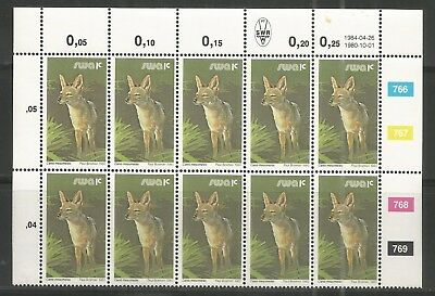 South West Africa  - Schakal - Jackal - Block of 12 - 26.04.1984 reprint