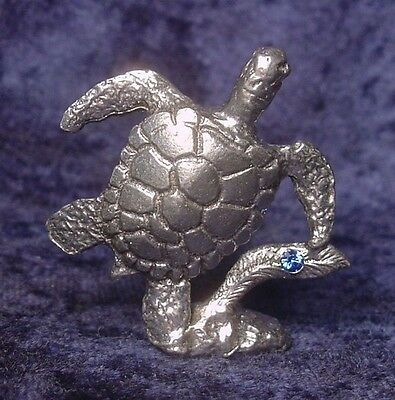 Pewter SEA TURTLE with Crystal Accent