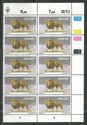 South West Africa  -  Löwe Lion - Block of 12 - 16.09.1987 reprint