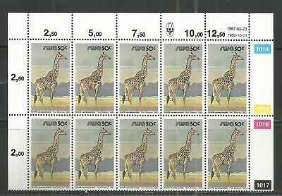 South West Africa  -  Giraffe - Block of 12 - 23.02.1987 reprint