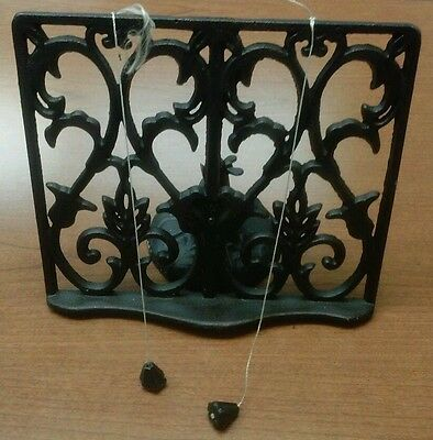 Vintage Cast Iron Fancy Swivel Recipe Book Holder Beautiful Unique Hard To Find