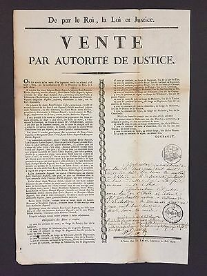 1818 Important French Broadside by Famous Printer to the King, Plus Manuscript