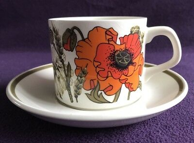 "J&G MEAKIN STUDIO England English Ironstone ""POPPY"" Cup & Saucer (6 Available)"