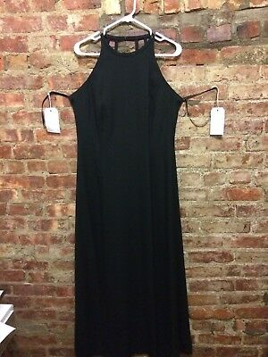 Early 1990's Vintage Black Floor-length Cocktail Party Dress Open Back