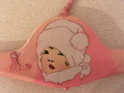 Vintage Child's Wooden Coat Clothes Hanger Adorable Little Girl All Bundled Up