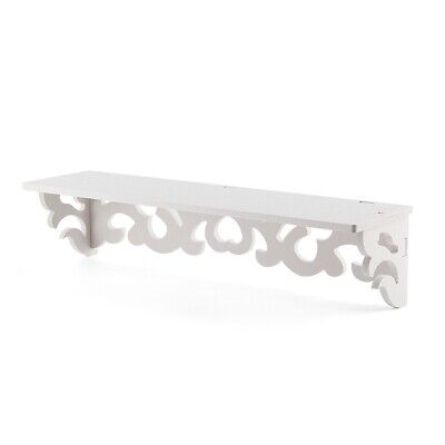Set of 2 White Shabby Chic Filigree Style Shelves Cut Out Design Wall Shelf J7D6