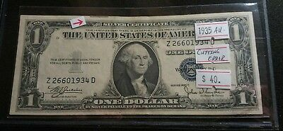 USA 1935 C $1 Dollar Bill Silver Certificate Cutting ERROR See Line AUNC