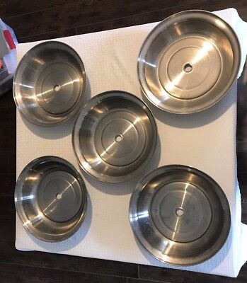 """Lot of 5- 11"""" Stainless Steel Catering Restaurant Plate Food Covers Vallrath"""