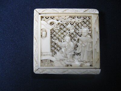 Chinese Hand-Carved Bovine Bone Puzzel Box Late Qing Period