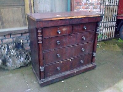 Large Antique Chest Of 6 Drawers For Restoration.