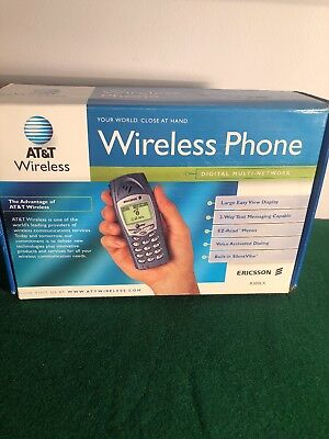 AT&T Ericsson R300LX Vintage Cellular Phone w Wall Charger Ear Bud Manuals & Box