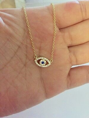"""925 Sterling Silver Evil Eye Hamsa Cubic Zirconia Gold Plated Necklace 16""""-18"""