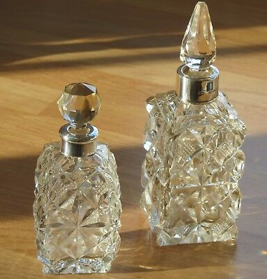 Antique Silver & Cut Glass Scent/Perfume Bottle and stopper - Birmingham 1898