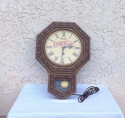 VINTAGE  1970's  DRINK  COCA  COLA  WALL  CLOCK  REGULATOR  STYLE / USED PARTS