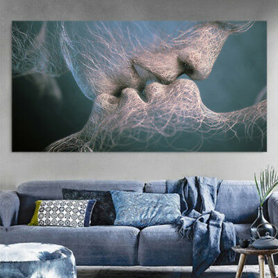 EP_ Abstract Wall Art Canvas Painting Love Kiss Picture Dining Room Home Decor F
