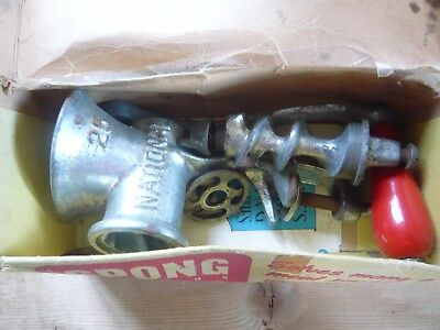 Spong No25 National Vintage Food Mincer with Original Packaging, Instructions.